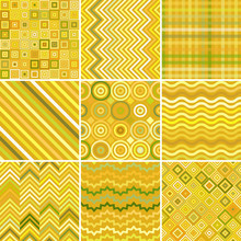 Set With Nine Yellow Seamless Abstract Geometric Pattern, Vector Illustration