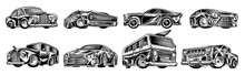 Muscle Cars And Vintage Transports For Logo And Labels. Set Of Retro Old School Auto Service. Collection Of Classic Roadster. Engraved Hand Drawn Sketch. Business Class And Sports Motor Vehicle.
