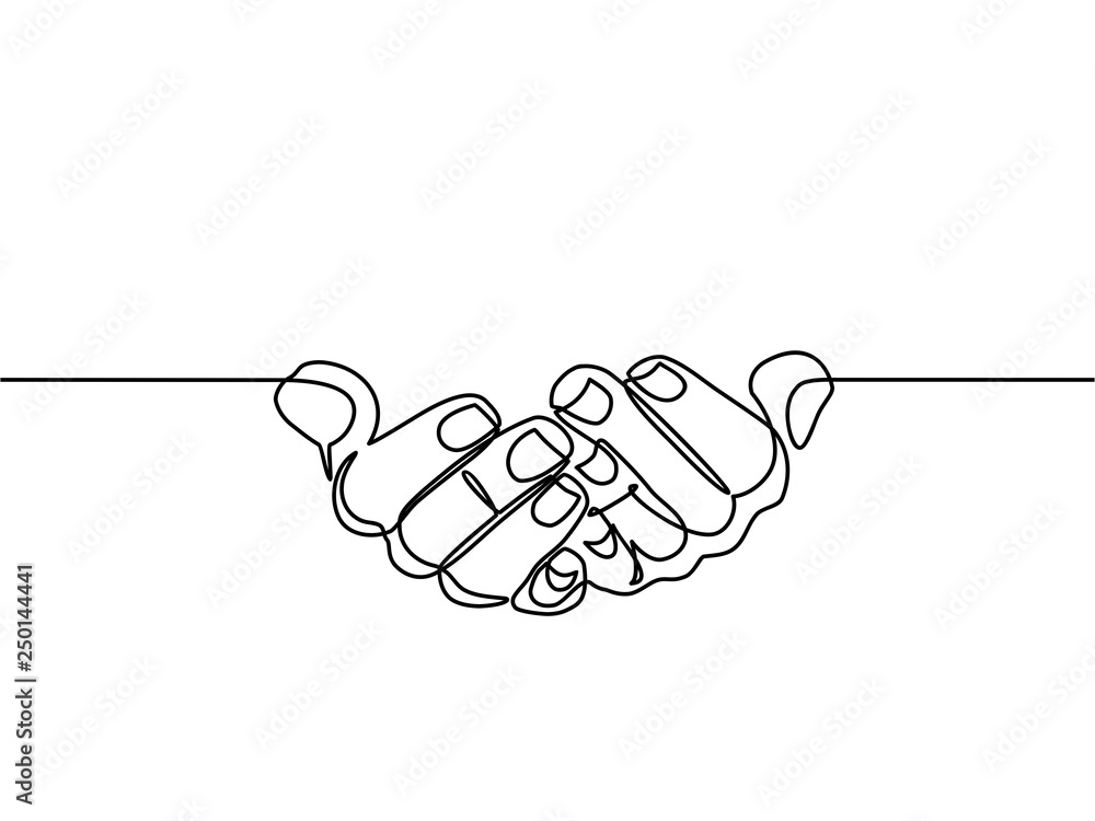 Fototapety, obrazy: continuous line drawing of prayer hand. Hands palms together. Vector illustrations. - Vector