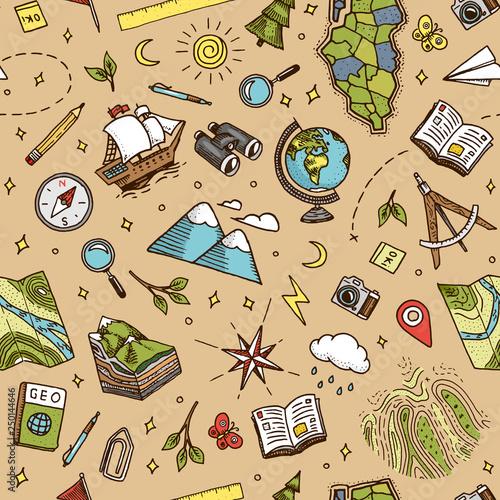 Fotografia  Geography symbols seamless pattern