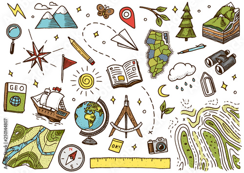 Set of geography symbols Wallpaper Mural