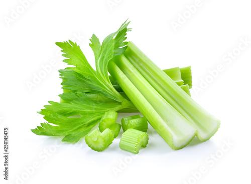 Obraz Fresh celery isolated on white background - fototapety do salonu