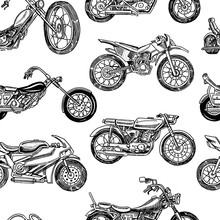 Vintage Motorcycles Seamless Pattern. Bicycle Background. Extreme Biker Transport. Retro Old Style. Hand Drawn Engraved Monochrome Sketch.