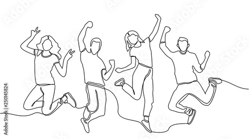 Obraz continuous line drawing of jumping happy team members. happiness, freedom, motion and people concept. smiling young friends. jumping in air. vector - fototapety do salonu