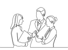 Continuous Line Drawing Concept Of Business People Meeting. Vector