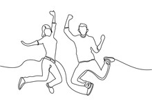 Continuous Line Drawing Business Concept Sketch Of Happy Jumping Couple. Vector
