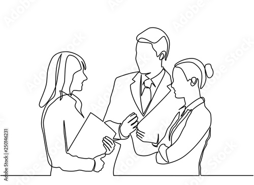 Obraz continuous line drawing concept of business people meeting. vector - fototapety do salonu
