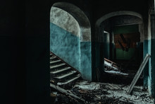 Dark And Creepy Corridor Of Old Abandoned Hospital