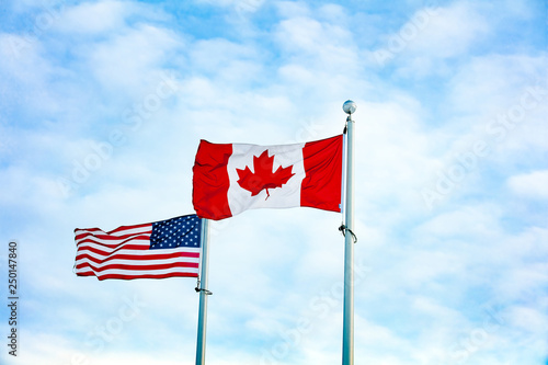 2d8a913b664 Canadian and American Flag together - Buy this stock photo and ...