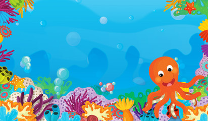 Fototapeta na wymiar cartoon scene with coral reef with happy and cute fish swimming with frame space text octopus - illustration for children