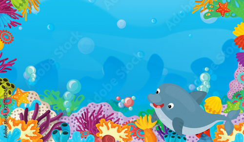 Fotografie, Obraz  cartoon scene with coral reef with happy and cute fish swimming with frame space