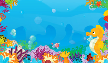 Fototapeta na wymiar cartoon scene with coral reef with happy and cute fish swimming with frame space text sea horse - illustration for children