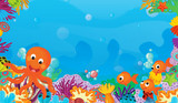 cartoon scene with coral reef with happy and cute fish swimming with frame space text octopus - illustration for children