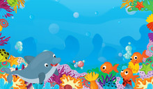 Cartoon Scene With Coral Reef ...