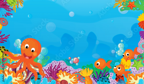 cartoon scene with coral reef with happy and cute fish swimming with frame space text octopus - illustration for children - 250149083