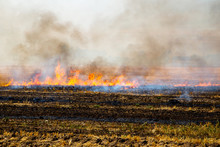 A Stubble Fire Burns In A Rural Field To Clear The Ground For Another Crop