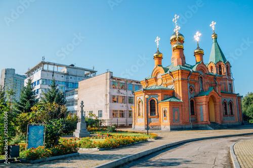 Spoed Foto op Canvas Zuid-Amerika land Church of St. Innocent of Irkutsk in Khabarovsk, Russia