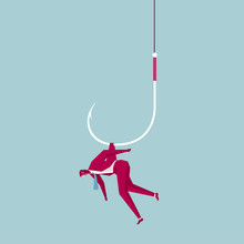 Businessman Trapped On A Fishing Hook. Isolated On Blue Background.