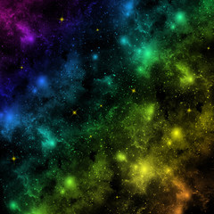 Bright Colourful Pattern on black, Glowing illustration.