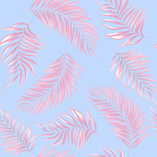 Seamless Pattern Of A Tropical Palm Tree, Jungle Leaves. Vector Floral Pattern. Delicate Pink On Blue