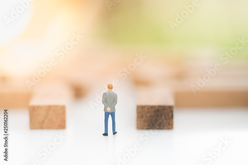 Photo  Miniature people: Businessman standing in maze with copy space for text using as background