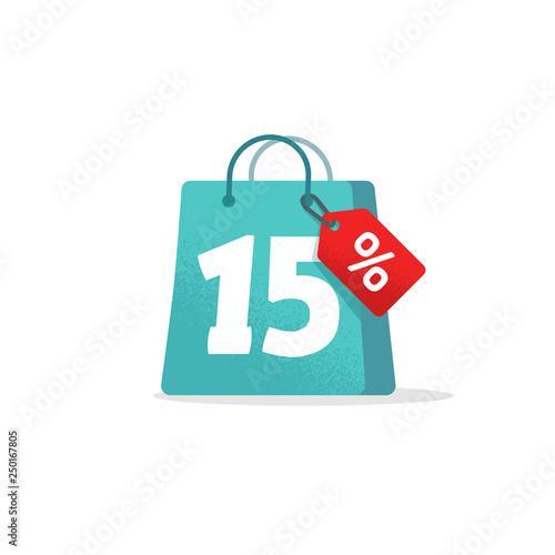 Fototapeta Sale tag vector badge template, 15 off sale label symbol, 15 discount promotion flat icon, clearance sale sticker emblem, bargain blue sign shopping bag grain retro design isolated clipart obraz