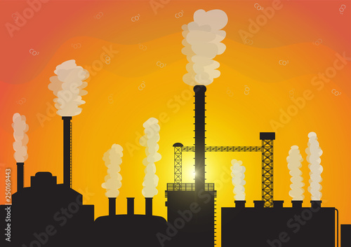Fotografie, Obraz  Toxic smoke air pollution from silhouette factory on sunrise background,environm