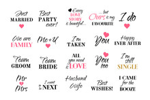 Vector Wedding Caligraphy Typography Collection Marriage Set