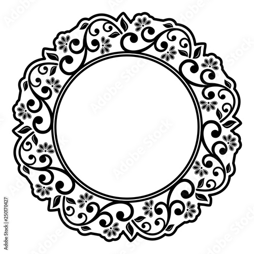 Oriental vector round black and white frame with ...