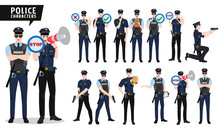 Policeman Vector Character Set. Police Officer Characters Holding Gun And Placard With Signs In Various Posture Isolated In White. Vector Illustration.
