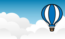 Hot Air Balloon Float On Blue Sky Background.