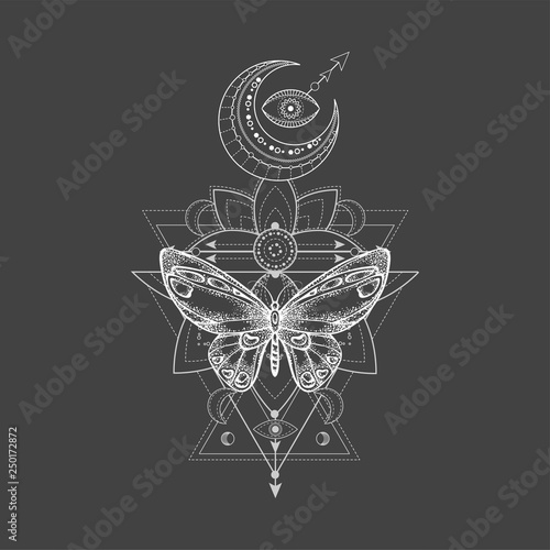 Poster Boho Stijl Vector illustration with hand drawn butterfly and Sacred geometric symbol on black background. Abstract mystic sign. White linear shape. For you design, tattoo or magic craft.
