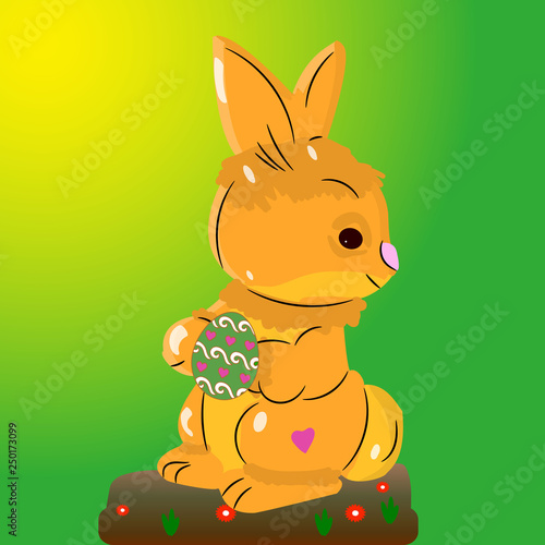 Poster de jardin Zoo Light brown hare, holding an Easter egg in its paws, on a light green background,