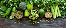 Variety Of Green Vegetables And Legumes. Clean Eating  Food Concept