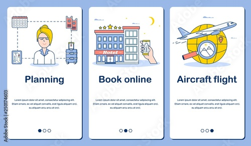 three banners for a vacation planning phone
