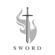 Sword With Flame Logo Template...