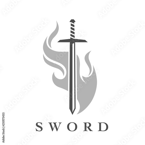 Sword with flame logo template Wallpaper Mural