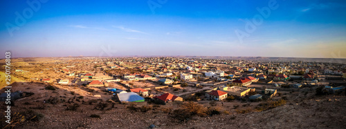 Poster Chocolate brown Aerial view to Hargeisa, biggest city of Somaliland Somalia