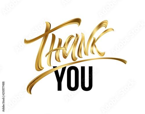 Fotografie, Obraz  Golden Thank You Hand lettering Greeting Card