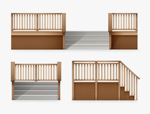 Vector Illustration Of Staircase For Entrance To House, Stairway Of Porch From Wooden Balustrade Front And Side View
