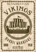 Vikings Sailship Or Drakkar Vector Vintage Poster