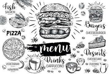 Menu kawiarni restauracji, projekt szablonu. Ulotka na temat żywności.