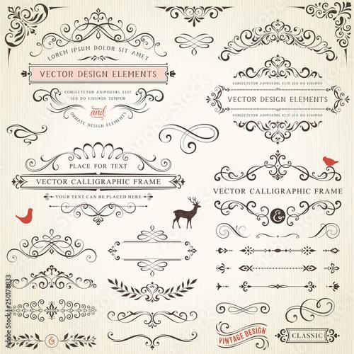 Ornate retro labels, flourishes elements, calligraphy swirls, corner ornaments and frames.