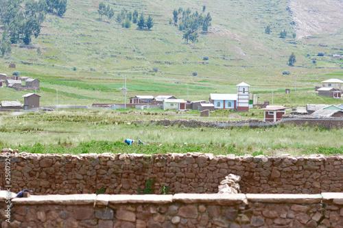Photo sur Toile Amérique du Sud Rustic stone wall. Countryside landscape.