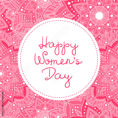 Fototapeta International Women S Day Background Vector 8 March Floral Banner Pink Spring Design With Flowers For Congratulation Gift Label