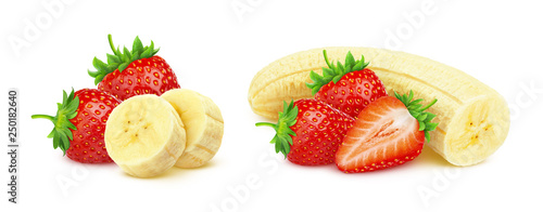 Slika na platnu Banana and strawberry isolated on white background with clipping path