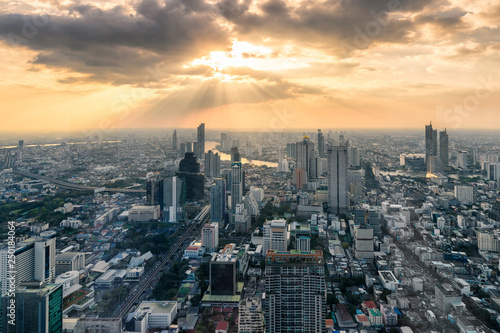 Sunset on Crowded building with Chao Phraya river at Bangkok city, Thailand Wallpaper Mural