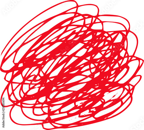 Foto  Illustration of a red circle of scribble vigorously