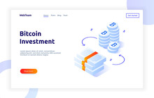 Isometric Bitcoin Investment And Growth Gradient Style Design Concept, Money And Finance Modern Web Banner Illustration