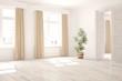 White minimalist empty room with green flower and open door. Scandinavian interior design. 3D illustration